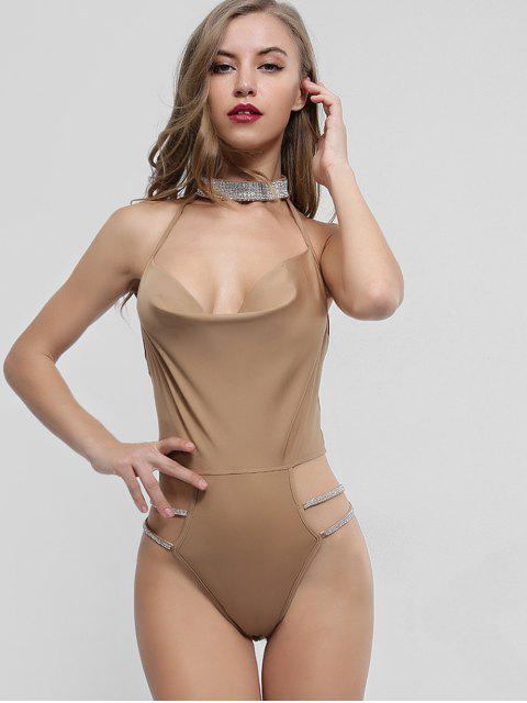 hot Rhinestones Choker Neck Backless Bodysuit - TAN M Mobile