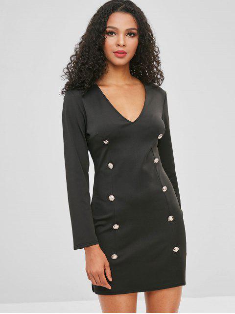 Knöpfe verschönert einfaches Kleid - Schwarz XL  Mobile