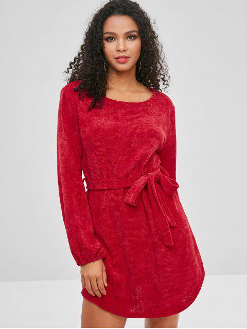 Robe unie à manches longues - Rouge XL Mobile