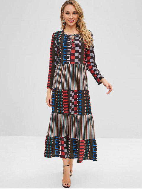 Robe Maxi à manches longues multicolore - Multi-A XL Mobile