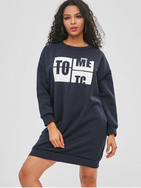 Buchstabe Grafik Mini Sweatshirt Kleid - Dunkles Schieferblau Eine Größe Mobile