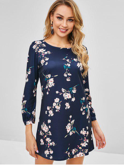 Mini robe à fleurs à manches longues - Bleu de Minuit XL Mobile