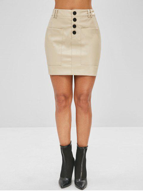 best Button Fly Faux Leather Skirt - BEIGE M Mobile