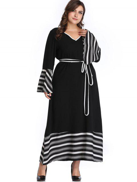 fancy Belted Stripes Plus Size Dress - BLACK 4X Mobile