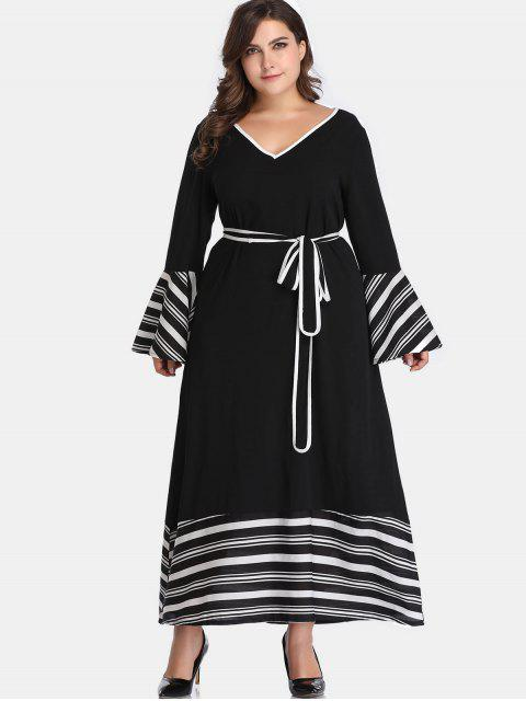 women's Belted Stripes Plus Size Dress - BLACK 3X Mobile