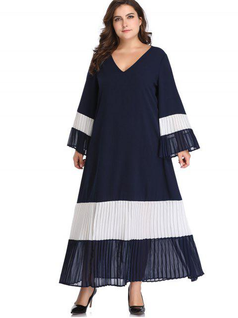 outfits Flare Sleeve Color Block Plus Size Dress - MIDNIGHT BLUE 2X Mobile
