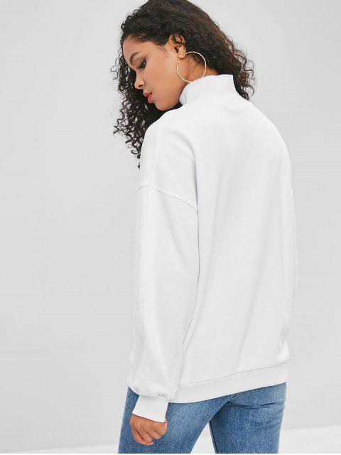 shop Ribbed Trim Mock Neck Sweatshirt - WHITE S Mobile