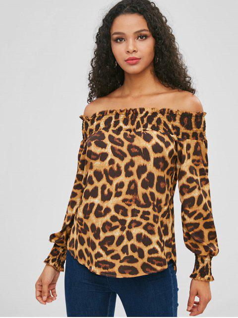 women Frilled Leopard Blouse - LEOPARD S Mobile