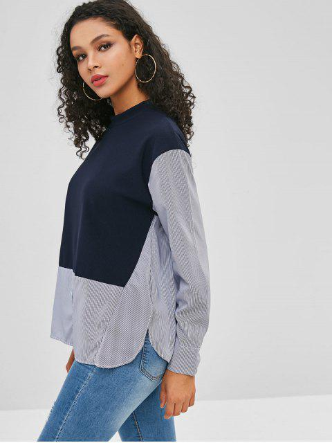 lady Striped Panel Side Slit Blouse - DEEP BLUE S Mobile
