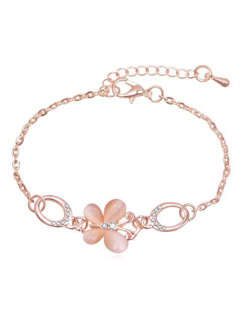 Bracelet Chaîne Design Papillon Rhinestoned - Or de Rose  Mobile