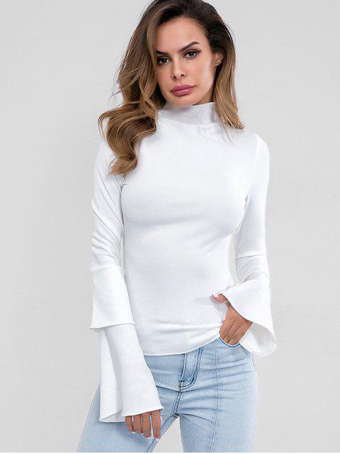 Cuello alto mangas en capas de punto superior - Blanco M Mobile
