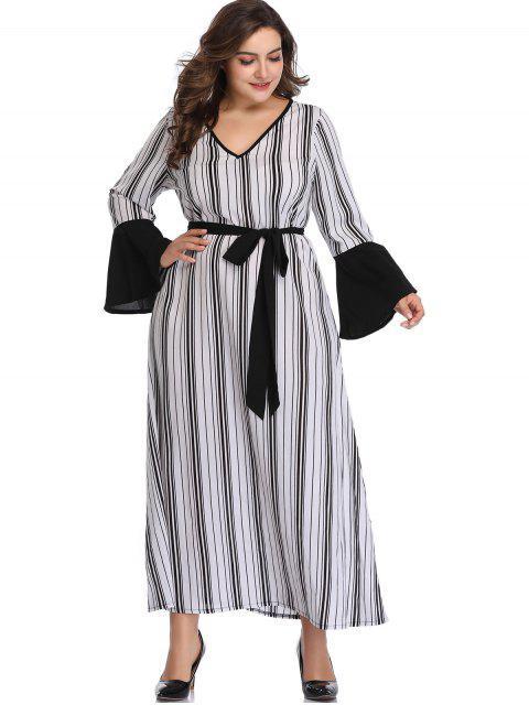 shop Flare Sleeve Stripes Plus Size Dress - WHITE 3X Mobile