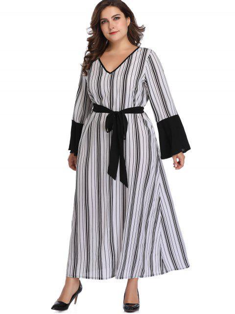women Flare Sleeve Stripes Plus Size Dress - WHITE 4X Mobile