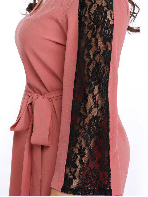 sale Keyhole Lace Panel Plus Size Dress - PINK 3X Mobile