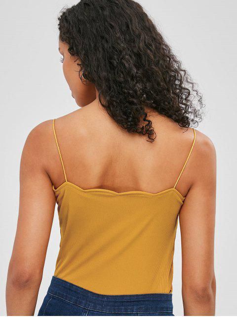 lady Scalloped Trim Knitted Cami Top - BEE YELLOW S Mobile