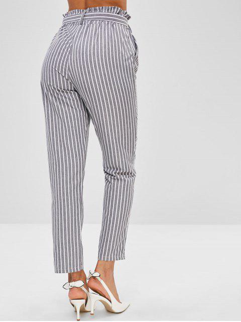 best Pocket Striped Pencil Pants with Belt - BATTLESHIP GRAY XL Mobile