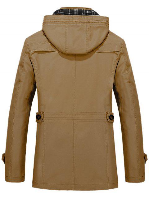 Trench-Coat à Capuche avec Boutons et Fermeture Éclair - Kaki Foncé XL Mobile