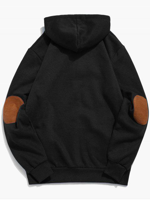 fashion Button Embellish Drawstring Pullover Hoodie - BLACK S Mobile