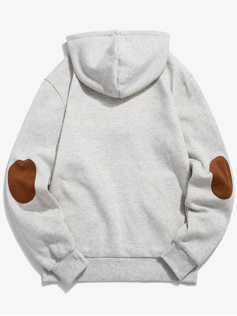women Button Embellish Drawstring Pullover Hoodie - PLATINUM XS Mobile