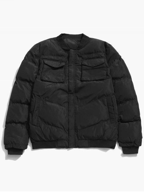 affordable Zip Fly Flap Pocket Padded Jacket - BLACK S Mobile
