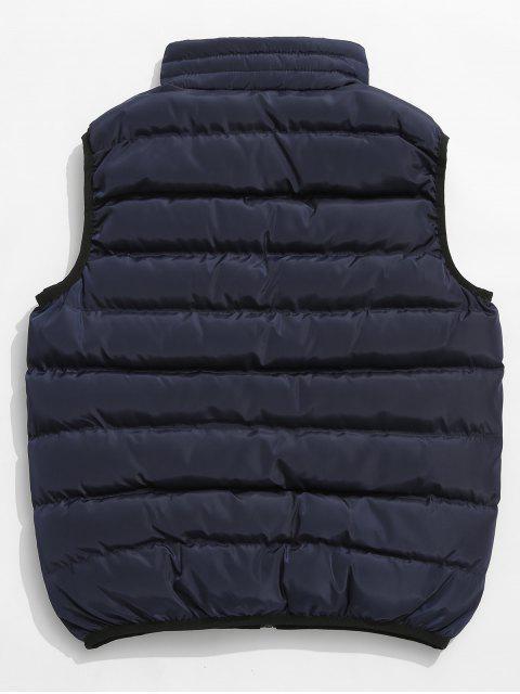 online Solid Color Zip Pocket Padded Vest - DARK SLATE BLUE S Mobile