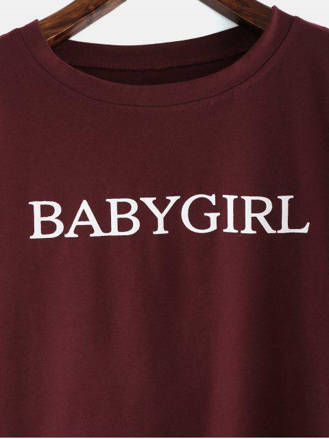 buy ZAFUL Babygirl Letter Print Graphic Crop Tee - RED WINE L Mobile