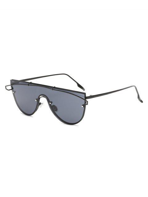 unique Metal Bar Oversized Sunglasses - BLACK  Mobile