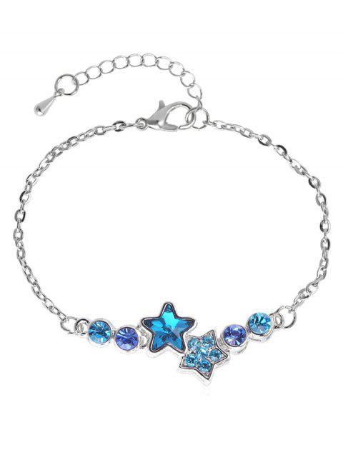 women's Rhinestoned Star Pattern Chain Bracelet - SILVER  Mobile