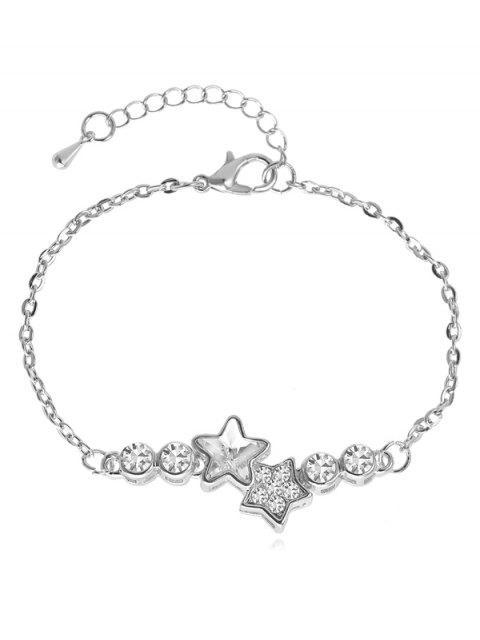trendy Rhinestoned Star Pattern Chain Bracelet - WHITE  Mobile