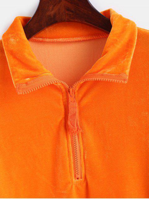 Sweat-shirt Court Zippé en Velours - Orange Papaye M Mobile