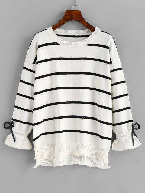women's Bowknot Embellished Slits Striped Sweater - WHITE ONE SIZE Mobile