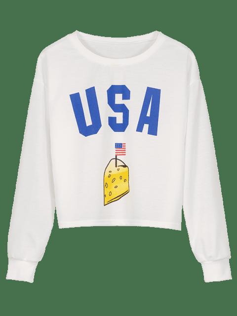 chic USA Graphic American Flag Boxy Sweatshirt - WHITE L Mobile