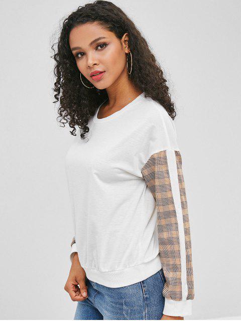 Pull à manches à carreaux - Blanc M Mobile
