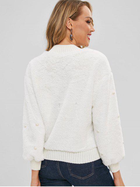 Sweat-shirt Fourré Perlé avec Fausse Fourrure - Blanc Taille Unique Mobile