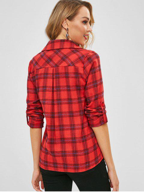latest Plaid Pocket Rolled Sleeve Shirt - MULTI-A XL Mobile