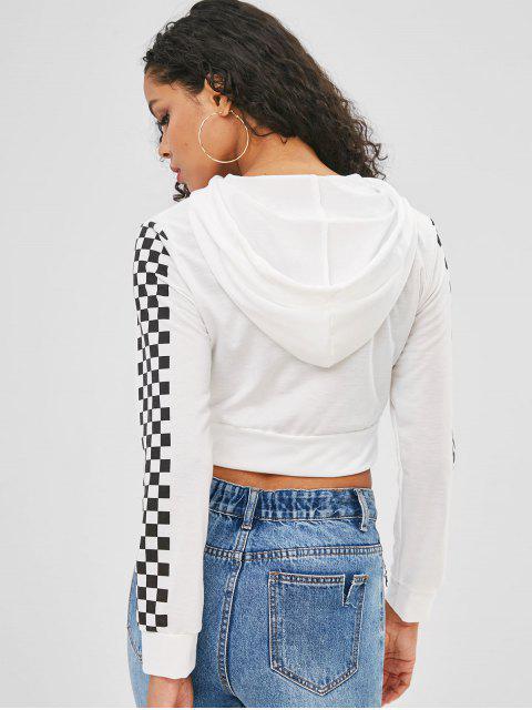 Sweat à capuche zippé à manches courtes et à carreaux - Blanc XL Mobile