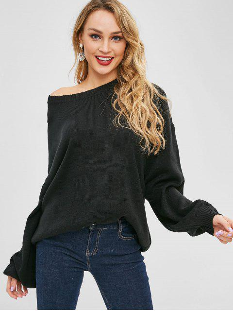 women Drop Shoulder Skew Collar Tunic Sweater - BLACK ONE SIZE Mobile