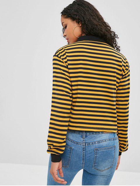 Sweat-shirt Ample Rayé à Demi-bouton - Multi-A S Mobile