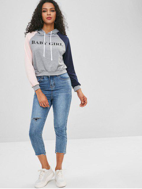 womens Raglan Sleeves Letter Graphic Contrast Hoodie - MULTI-A L Mobile