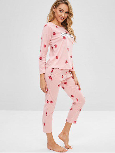 Ensemble de Pyjama Lettre Fraise à Goutte Epaule - Rose Cochon L Mobile