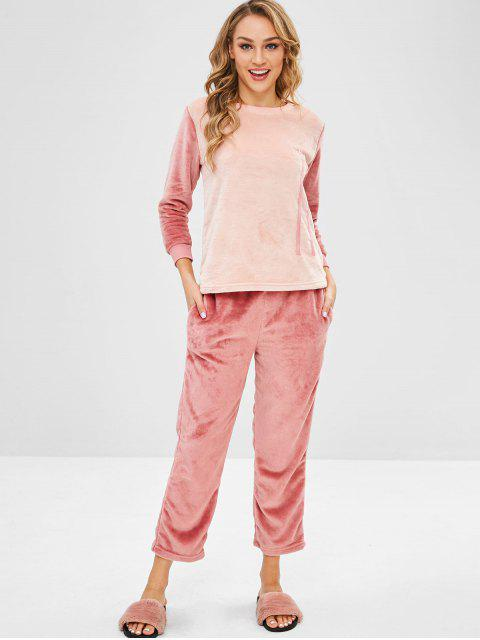 lady Letter Embroidered Color Block Flannel Pajama Set - MULTI-A 2XL Mobile