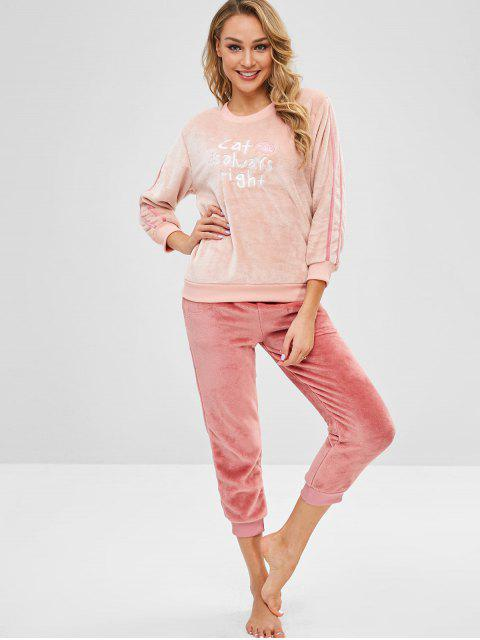 hot Letter Embroidered Flannel Color Block Pajama Set - MULTI-A 2XL Mobile