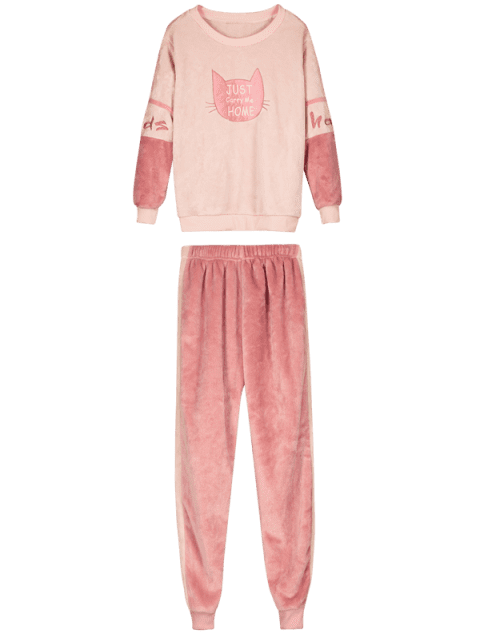 shops Flannel Cat Letter Embroidered Pajama Set - MULTI-A 2XL Mobile