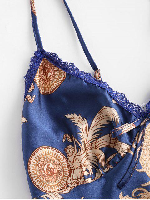 shop Satin Graphic Lace Insert Pajama Set - BLUE M Mobile