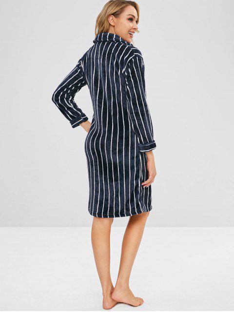 affordable Flannel Striped Pocket Pajama Shirt Dress - MULTI-A XL Mobile
