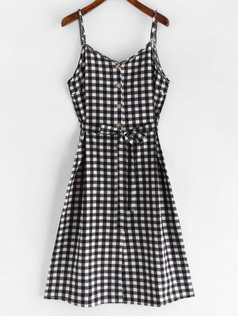 shops Tie Front Plaid Cami Dress - BLACK M Mobile
