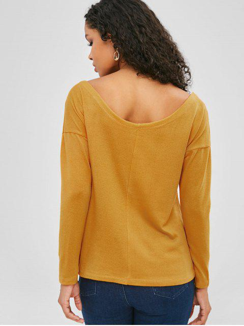 buy Buttoned V Neck Knitwear - YELLOW XL Mobile