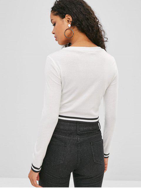 women Striped Trim Cropped Cardigan - WHITE M Mobile