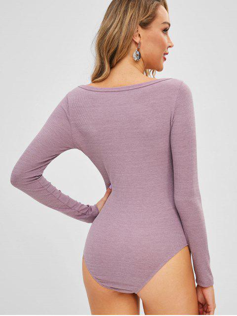 shops Half-button Long Sleeve Bodysuit - VIOLA PURPLE L Mobile