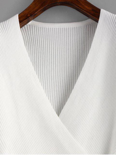 Tricot Asymétrique Superposé à Col V - Blanc Taille Unique Mobile